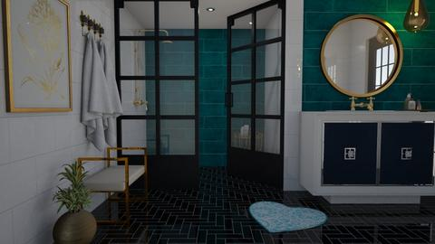 Turquoise and gold - Bathroom - by Tuija