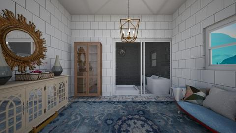 tiled goldy bathroom - Retro - Bathroom  - by aschaper