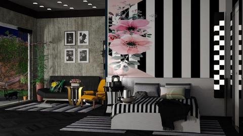 striped bed - Modern - Bedroom  - by nat mi