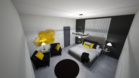 black and yellow master - Modern - Bedroom  - by JarvisLegg