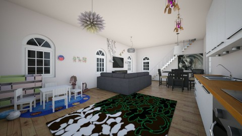 bear skin livingroom - Living room - by Dasha Chukalovskaya