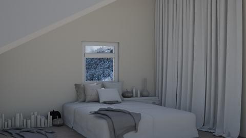 Fall Snowy Loft - Bedroom  - by TropicalLands