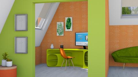 Orange and Green - Office  - by designkitty31