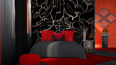 M_ Red and black - Bedroom  - by milyca8