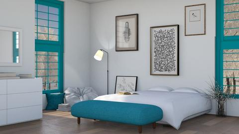 white and turquoise - Bedroom  - by Adelaide8