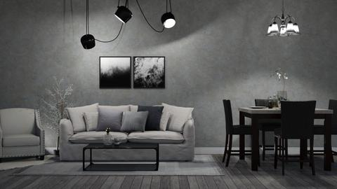 Grayscale II - Living room  - by Twilight Tiger