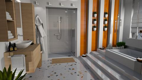 Orange and White Bathroom - Bathroom  - by bigmama14