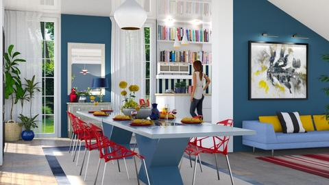 Remix blue and red dining - Dining room - by Tabitha Knight