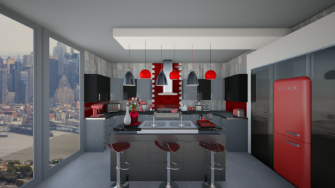 Flashy Red - Eclectic - Kitchen  - by shooshB