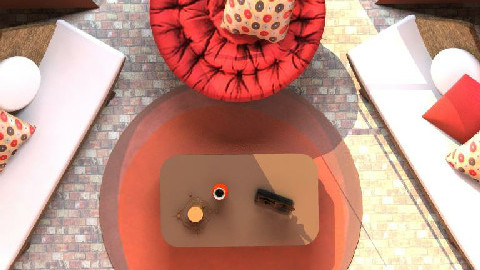 Retro Red&Brown Living Room 2 - Retro - Living room  - by SylviaAst