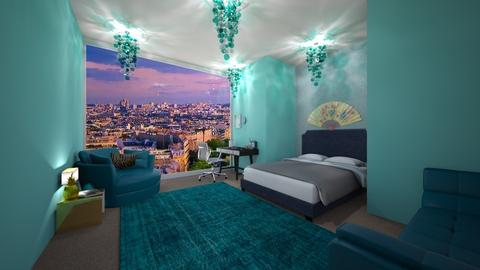 Turquoise and Metal Dream - Modern - Bedroom - by Chickie4012