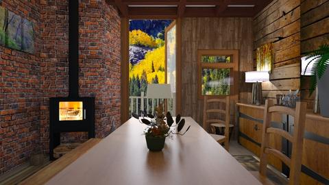 Wood Cabin - Country - Living room - by Sue Bonstra