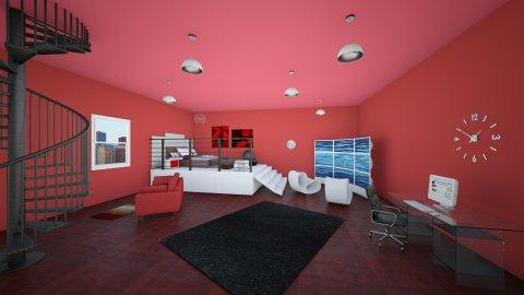 red bedroom - Minimal - Bedroom  - by elliebaaron