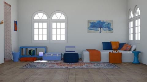 Orange and Blue  - Bedroom - by stmaiorino
