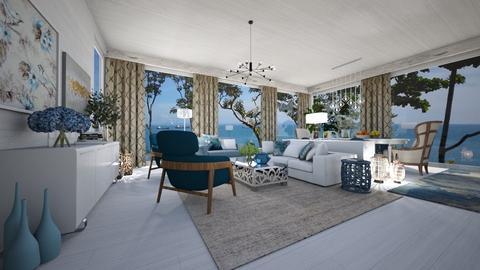 Greek Mediterranean Style - Living room  - by JarkaK