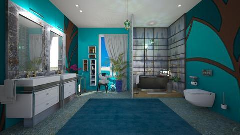 Turquoise Metal Bathroom - by Themis Aline Calcavecchia