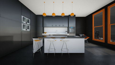 Black kitchen - Kitchen - by Keliann