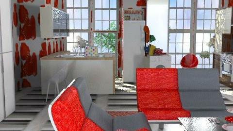 Joie de Vivre - Red Nose. - Retro - Kitchen  - by Interiors by Elaine
