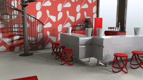 Red Room with Stairs - Retro - by jasonl