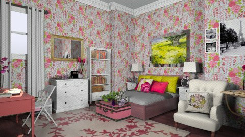 pink and green - Bedroom - by sarahl