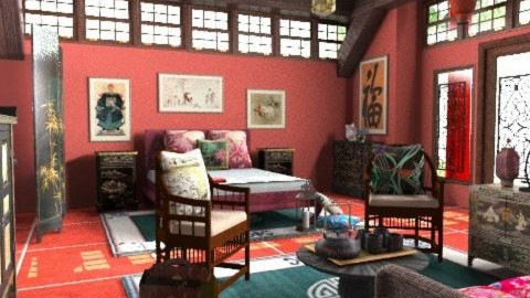 Traditional Chinese bedroom - Classic - Bedroom  - by Bibiche
