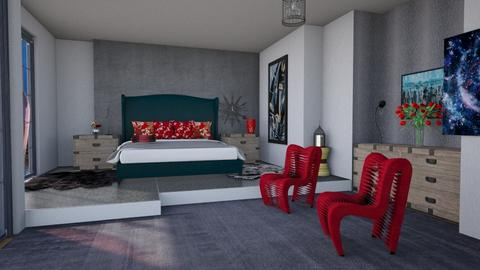 bedroom black red - Bedroom  - by Moonpearl