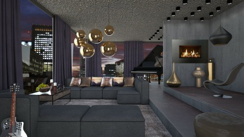 Penthouse night - Modern - Living room  - by Liu Kovac