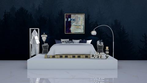 navy elevated bed - Bedroom  - by ange06