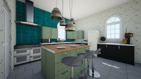 green and black - Kitchen - by Wendy Broyles