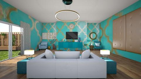 Turquoise N Metal lounge - Living room - by bluedolphin12