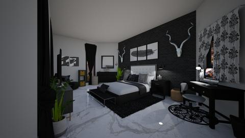 black white and grey - Bedroom  - by Maddie0712