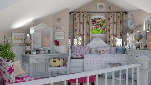 slanted ceilings upstairs - by Teri Dawn