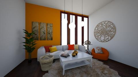 Orange and white room - Living room  - by Hailey0505