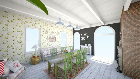 Christmas Dining Room NW - Country - Kitchen  - by KitchenFirUs