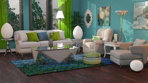 blue green splash - Modern - Living room  - by anchajaya