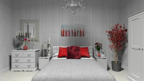 Grey and Red  - Minimal - Bedroom  - by deleted_1566988695_Saharasaraharas
