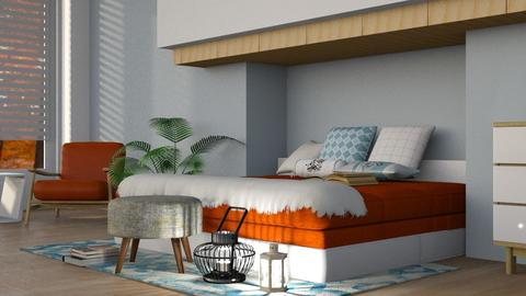 Orange Bed - Modern - Bedroom  - by millerfam