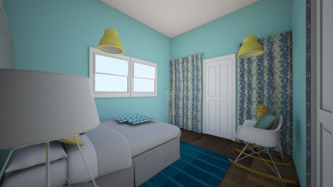 Yellow and Baby Blue - Retro - Bedroom  - by Faiths441