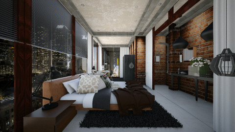 small bath and bed room - Masculine - Bedroom  - by Evangeline_The_Unicorn