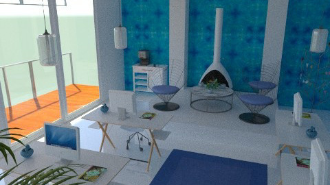 Fountain Blue Office - Modern - Office  - by mythreesons
