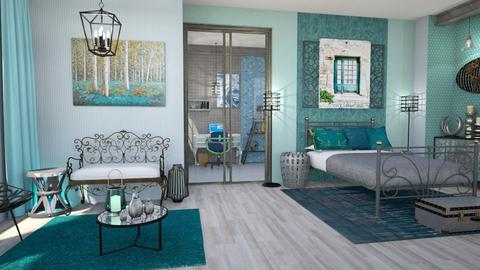 turquoise metal bedroom - Bedroom - by Moonpearl