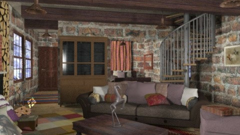 lodge - Rustic - Living room  - by chania