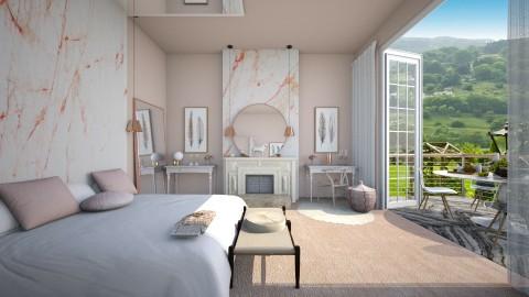 Pink Marble - Feminine - Bedroom  - by camilla_saurus