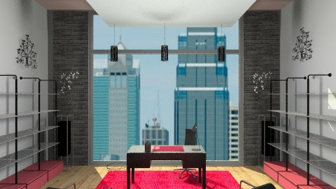 red and black office - Modern - Office  - by kck22