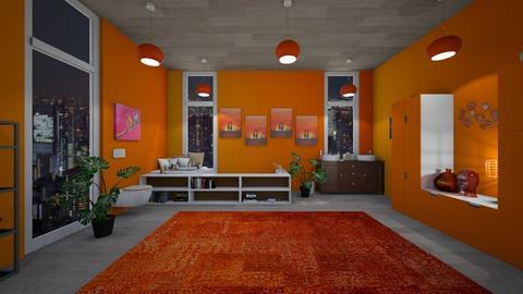 Orange Bathroom - Feminine - Bathroom - by Yui Soo