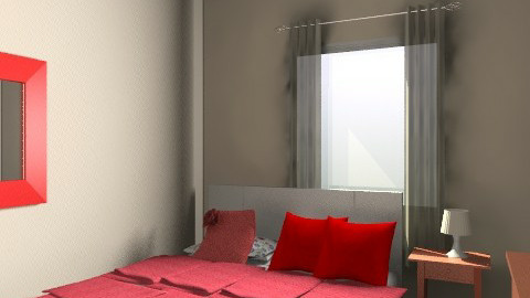 Aska Red and White Curtains 2-1 - Rustic - Bedroom  - by apikovsky