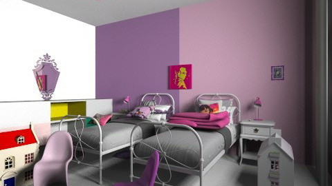 girls share bedroom 3 - Bedroom - by melbapink8
