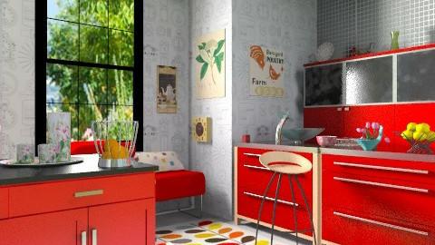 Red - Modern - Kitchen  - by milyca8