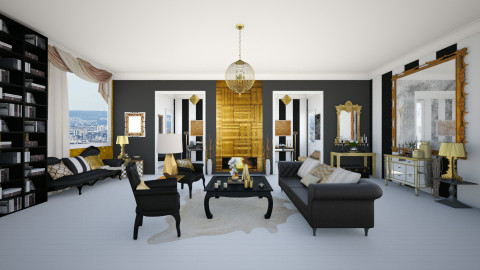 black and gold - Glamour - Living room  - by Ali Ruth