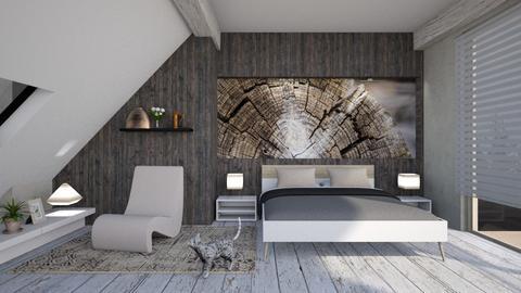 Cat in Wooden  Bedroom  - Rustic - Bedroom  - by Snowbell